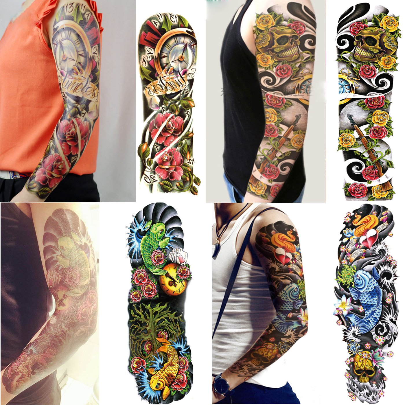 658e3cab1 Get Quotations · Kotbs 4 Sheets Full Arm Temporary Tattoo Waterproof Extra  Large Tattoos Sticker for Men Women Makeup