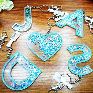 Free Sample Custom Acrylic Keychain S Letter Keychain Glitter Acrylic Charm