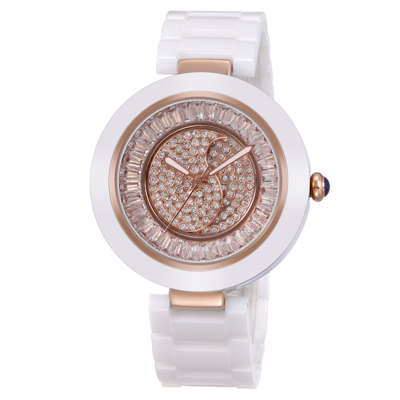 China Factory Supplier OEM White Dress Japan Movt Ceramic Watches Women