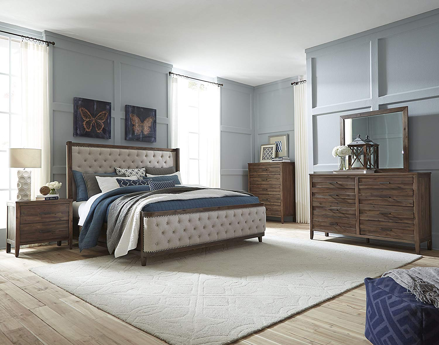 FurnitureMaxx Bryan Walnut Wood Finish Acacia solids, Acacia Veneer. King Upholstery Bed, Dresser, Mirror, Nightstand, Chest