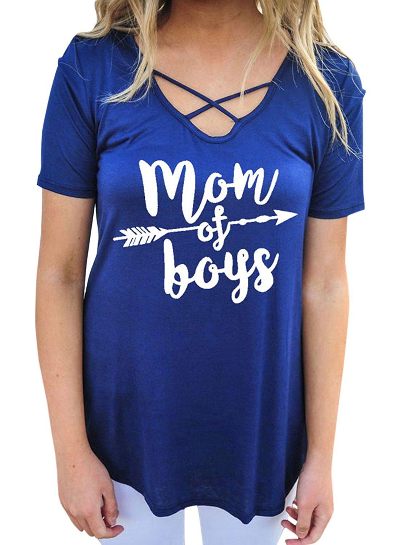 ZXZY Women Mom of Boys Short Sleeve Cross Front V Neck Letter Print T-Shirt Tees
