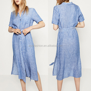 Ladies fashion clothing xxl size women casual one piece linen dress