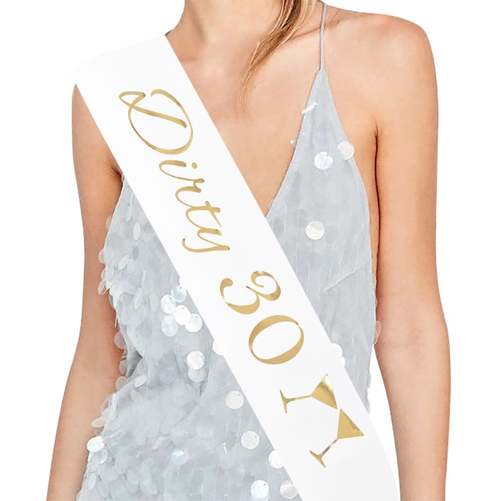 """Dulcet Downtown Black Satin /""""30 /& Fabulous/"""" Sash With Gold Glitter Letters"""