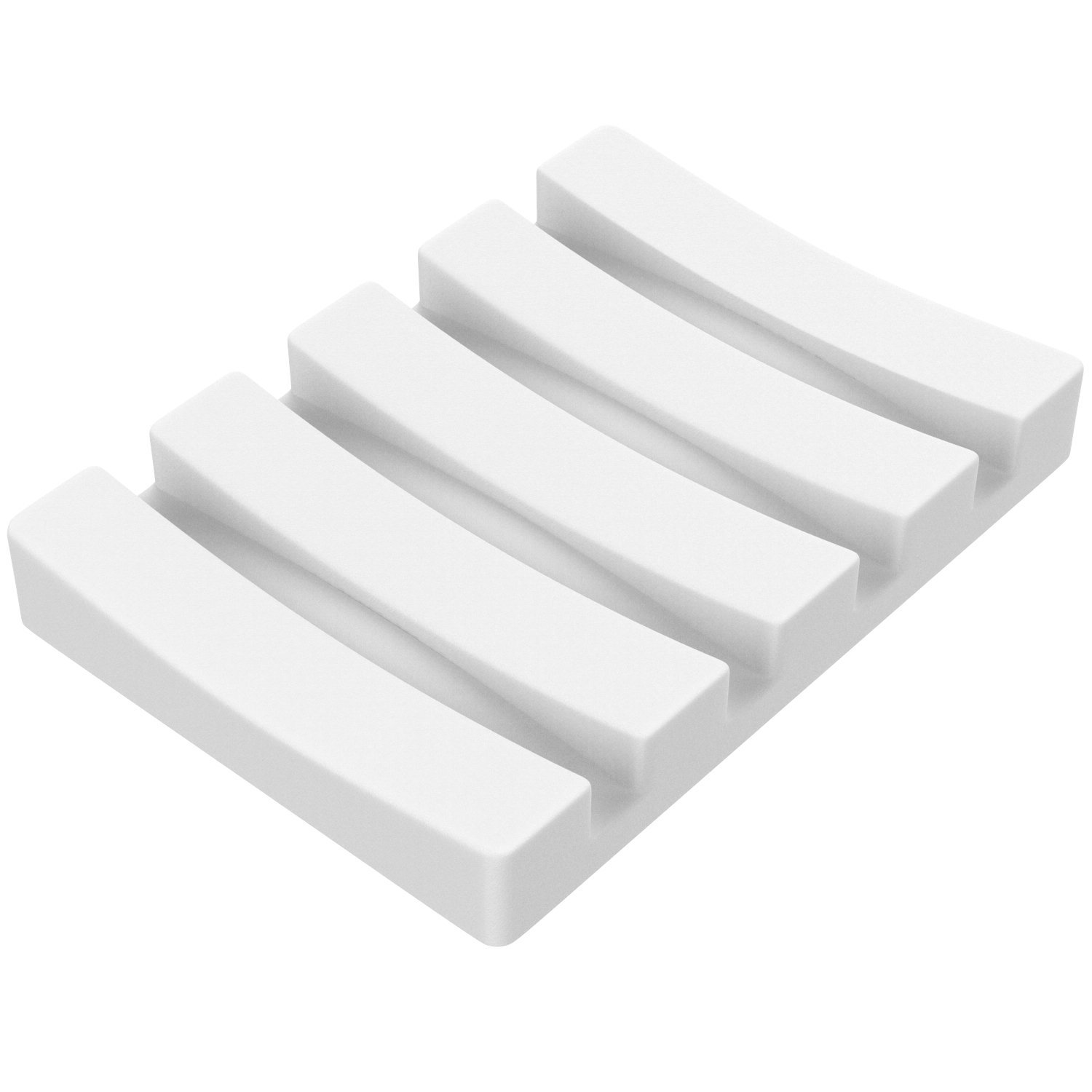 Luxspire Absorbent Soap Bar Holder, Anti-bacterial Soap Saver Dish and Square Coasters, Diatomite Coaster Fast Drying Water Absorptions Non-Slip Set, White
