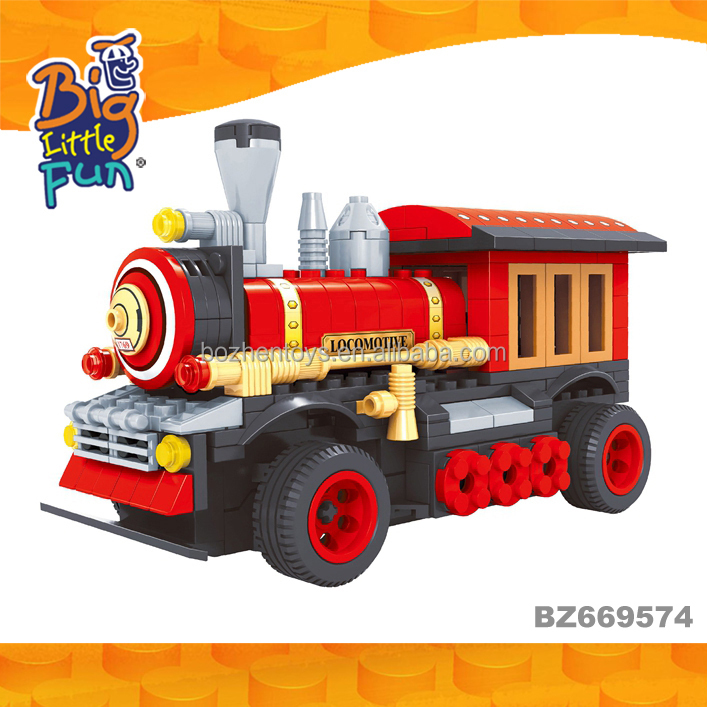 Ausini hot sale kids train DIY model train toys building block locomotive for sale
