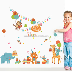 Cute Cartoon Animals happy party time wall stickers wall decal Kids room decoration stickers Waterproof removable wall sticker