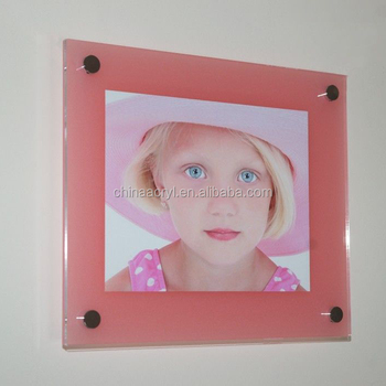 Baby Pink Acrylic Perspex Plexiglas Wall Mount Picture Photo Frame