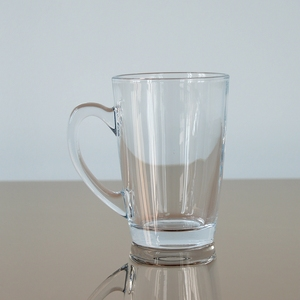 Drink ware stocked crystal glass tea tumbler mug with handle