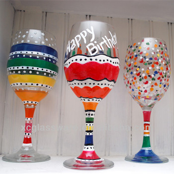 Unique Shaped Hand Painted Colored Wine Glasses Buy Wine