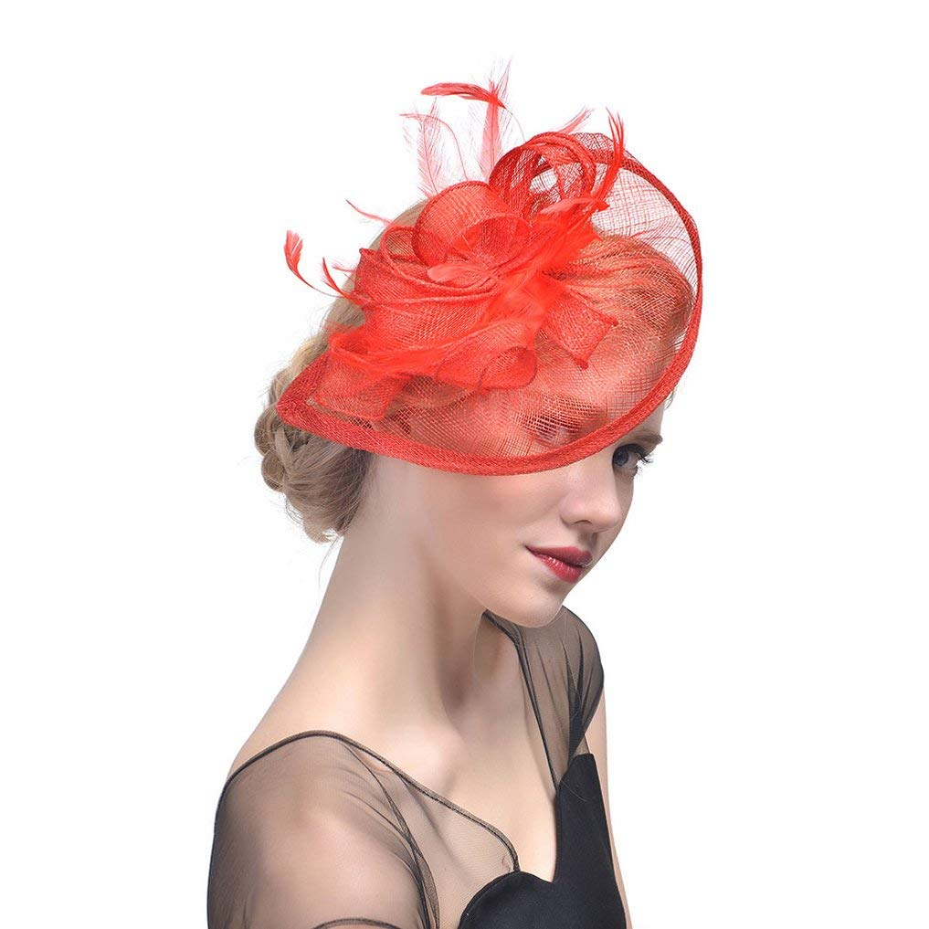 fd1fde9997ea0 Get Quotations · Belyee Feather Fascinator Hats for Women Cocktail Tea  Party Hats with Hair Clip
