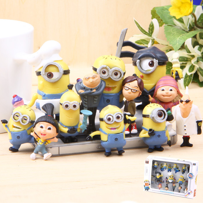 Best Quality 12PCS/SEt kids Toys MINIONS TOYS doll lps anime toy Environmental Protection Harmless Home decoration MataMata 0008