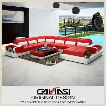 Ganasi Red Corner Sofa,Contemporary Italian Leather Sectional Sofa ...