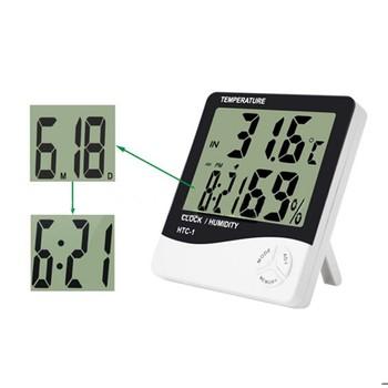 Pour Htc 1 Haute Précision Lcd Numérique Thermomètre Hygromètre Intérieur Électronique Température Humidité Compteur Horloge Station Météo Buy