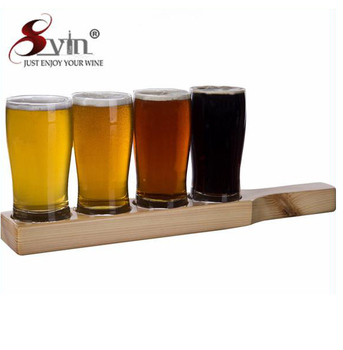 Beer Tasting Set Beer Flight 4 Beer Glasses On A Wooden Tray Buy Beer Flightwooden Tray Beer Flightbeer Paddle Product On Alibabacom