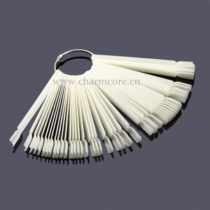 50Pcs Hot Selling Nails Tools White Transparent False Nail Art Tips Sticks Polish Display Fan Practice Tool Board