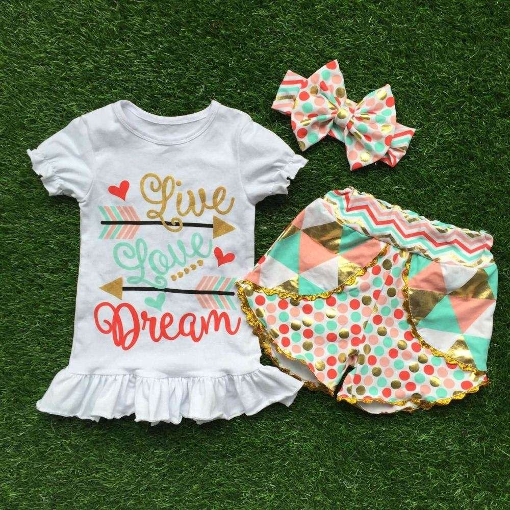 boutique girl clothing summer girl clothing boutique colorful Polka Dot Shorts Set of lattice points on the new design and matc