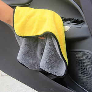 China factory supply cheap 800gsm 1200gsm double sided quick drying coral fleece microfiber car wash towel with banded edging
