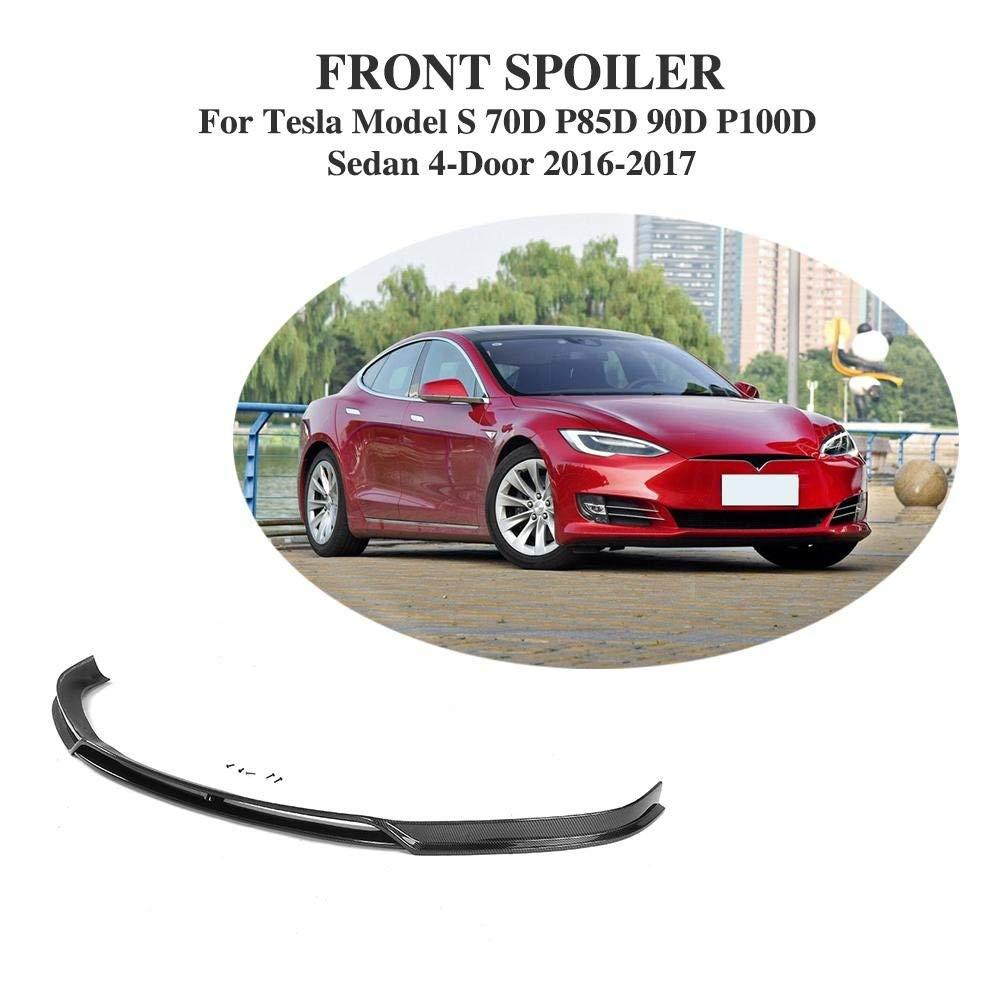 JCSPORTLINE Carbon Fiber Front Chin Spoiler Lip for Tesla Model S 70D P85D 90D P100D Sedan 4 Door 2016-2017