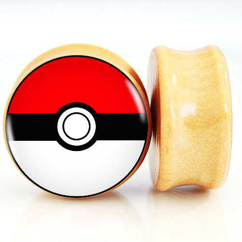 2pcs/Lot Pair of Nature Wood Ear Plugs Fit Ear Gauges Plugs - Pokemon Ball 6MM-25MM 2G-1''