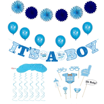 Party Decorations Baby Shower Its A Boy Banner Balloons Paper Fans