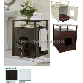 Espresso Wooden Cat Litter Washroom, Night Stand Cat House End Table