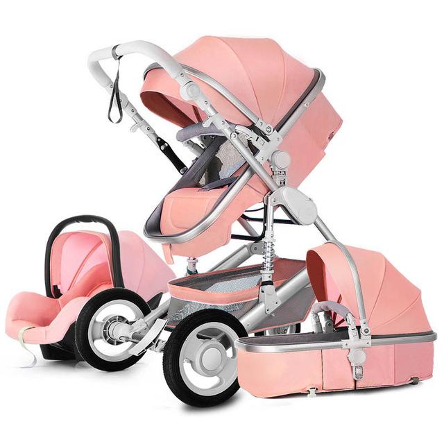 High Landscape Luxury Infant 3 in 1 stroller Baby Stroller Carriage Basket Four Wheels Stroller Baby Safe Seat фото