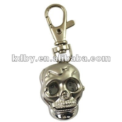 skeleton head shape black numerial marking pendant pocket watch