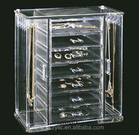 7 Drawer Clear Acrylic Jewelry Organizer, 2 Side Hanger with Insert Drawer Transparent Acrylic Jewelry Storage Box
