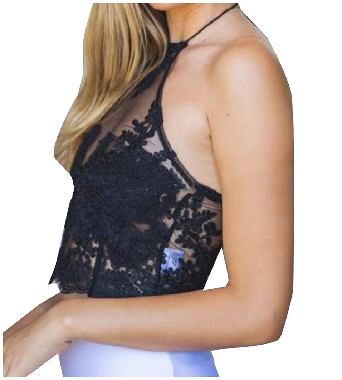 Zimaes-Women Slim Fit Lace Zip-Up Lace Up Detail Backless Cami Vest