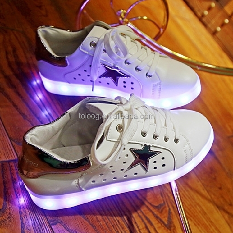 Alibaba Women Shoes Footwear Female LED Light Up Shoes Hollow design
