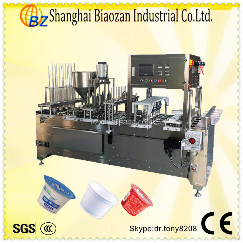 Shanghai produce yogurt cup sealing packing machine with aluminum foil