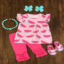 2018 overseas childrens boutique clothing for summer watermelon pearl dress ruffle capris set