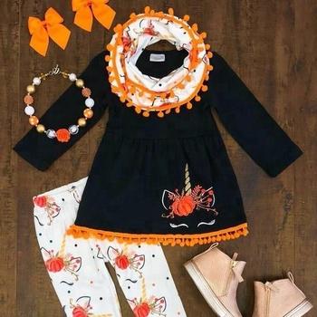 b9efa55b7 wholesale kids clothing set girls fall boutique outfit sets unicorn Pumpkin  halloween 3pcs outfit toddler girl