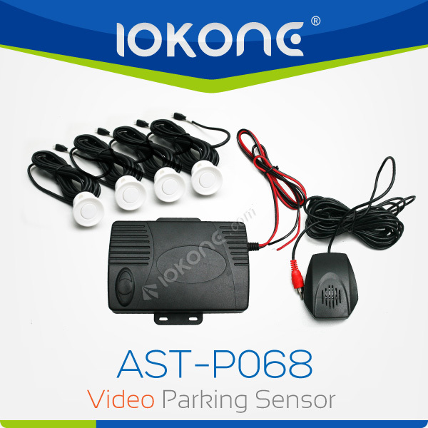 IOKONE 4 Sensor Video Parking Sensor and Nutural Human Voice and Buzzer Color Red White Black