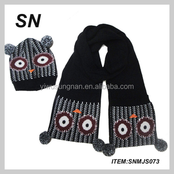 71dde1450f3 promotional lovely animal style pattern knitted acrylic children scarf and hat  set