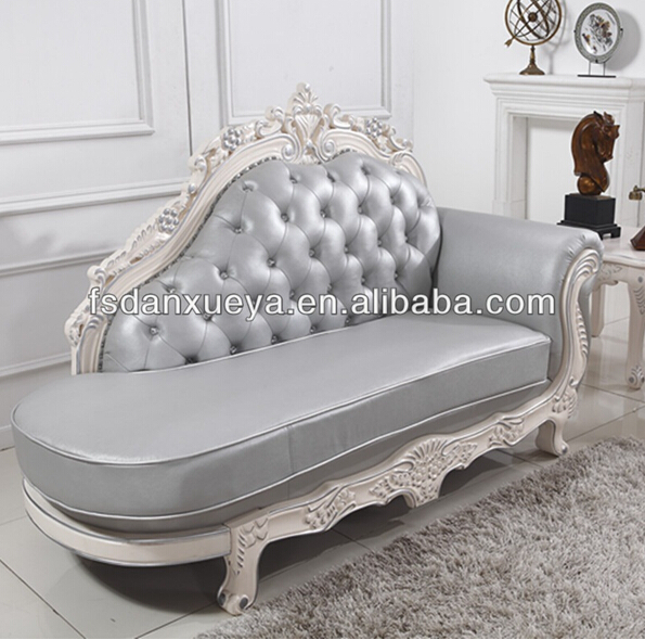 DanXueYa grey leather chaise lounge chair, white trim hand carved chaise,two seats chaise lounges
