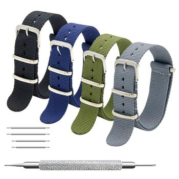 Nato Watch Straps 16mm 18mm 20mm 22mm 24mm Premium Ballistic Nylon Watch Bands Zulu Style with Stainless Steel Buckle