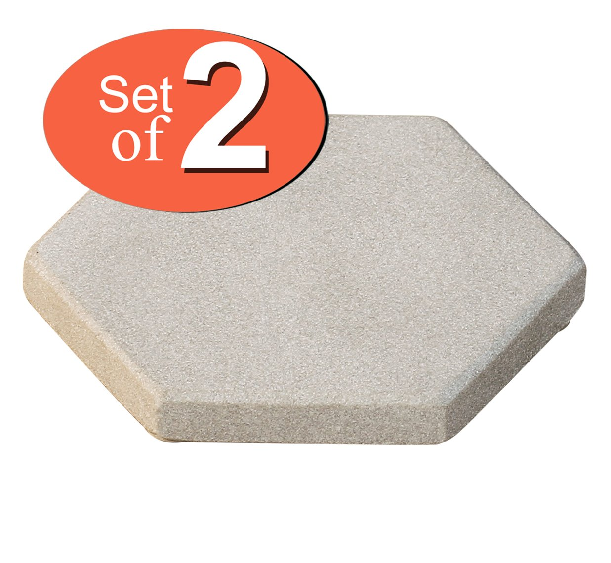 USE COUPON CODE Absorbent Sandstone Drink Coasters Set of 2 - Natural Moonlight-White Hexagonal Handmade Stone Beverage Coasters - 4 Inch - Sale on Bar Kitchen Dining Coasters / Accessories