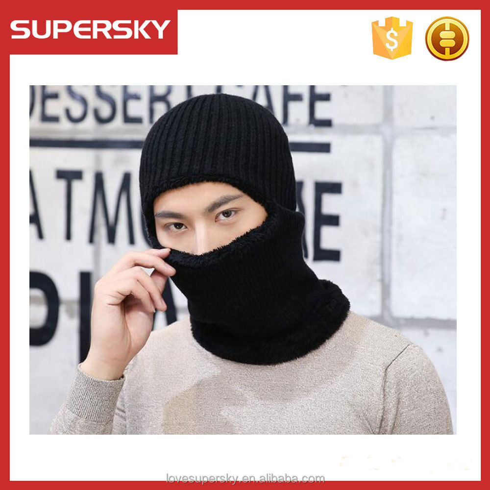 M288 Full Face Mask 1 Hole Beanie for SKI Winter Sport 100% Acrylic Braided Knitting