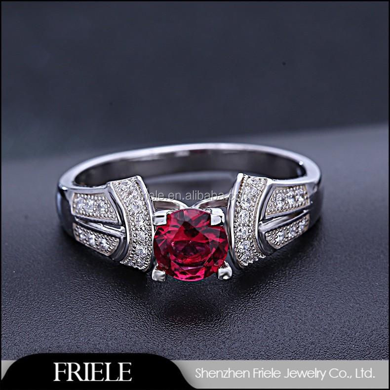 925 Perak Murah Perhiasan Imitasi Ruby Cincin Pria