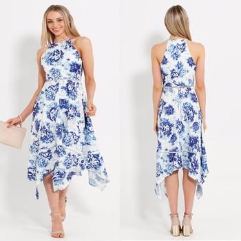 4e165480b64 European ladies western wear pictures pretty blooms midi hanky irregular  hem dress