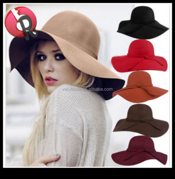 cc685cc0982 Women s Foldable Wide Brim Felt Bowler Fedora Floppy Wool Hat ...