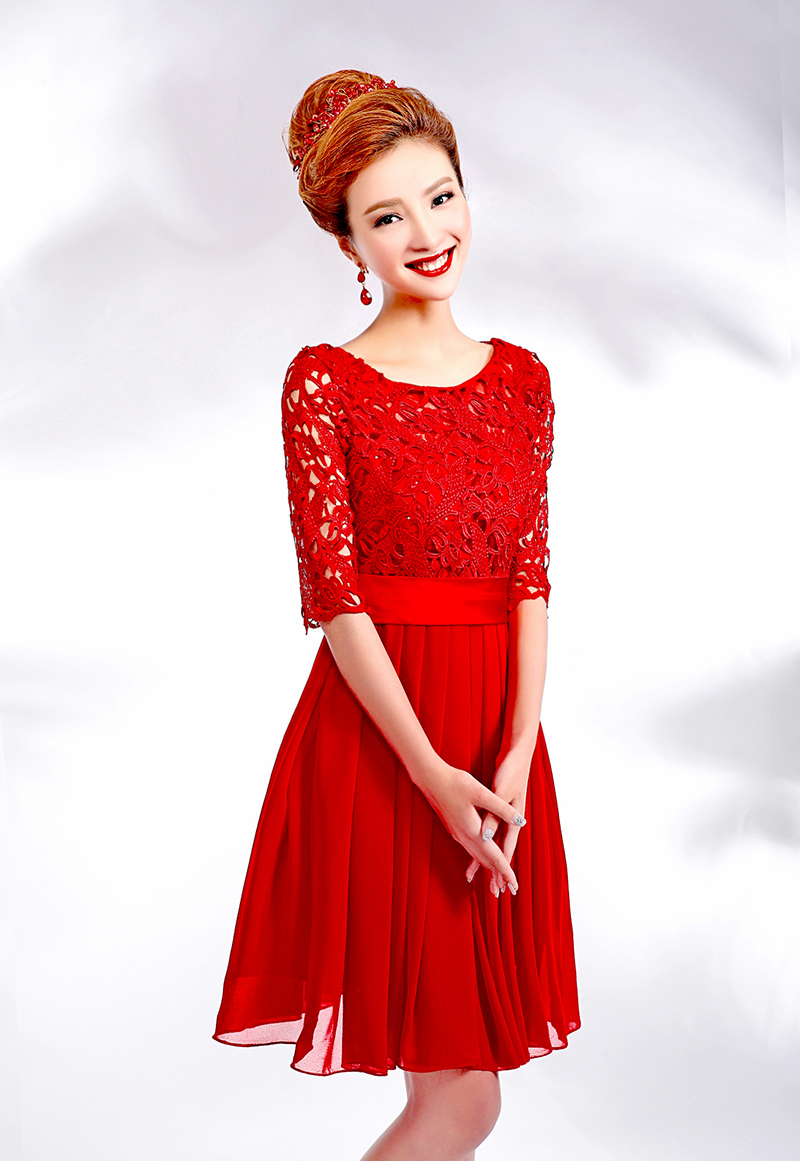 Romantic Red Wedding Dress Bride Zipper Chiffon Lace Wedding Dress 2015 Short Wedding Dress Vestido De Noiva Casamento H719