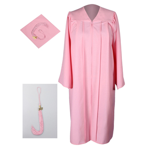 Pink Matte Graduation Gown Cap Tassel Set for High School and Bachelor