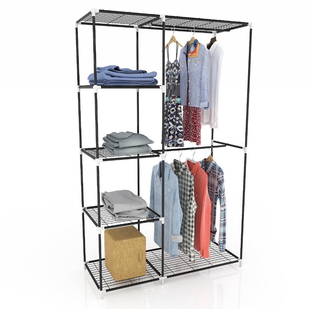 Jingcui metal wardrobe Double Rod Closet Wardrobe Rack Clothes Organizer Storage Cloth Cabinet