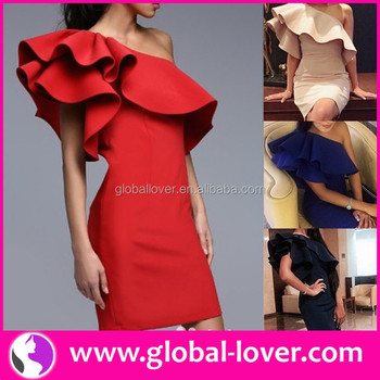 d97ced8032c One shoulder red designer one piece short mini party dress for young ladies