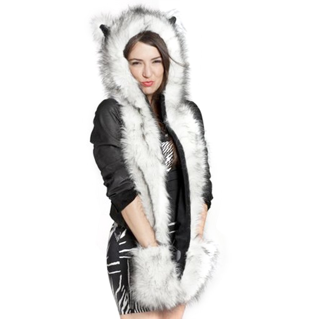 53b78d8877e Get Quotations · FakeFace 3 in 1 Unisex Men Women Girls Faux Rabbit Fur  Cartoon Animal Fox Ears Hood