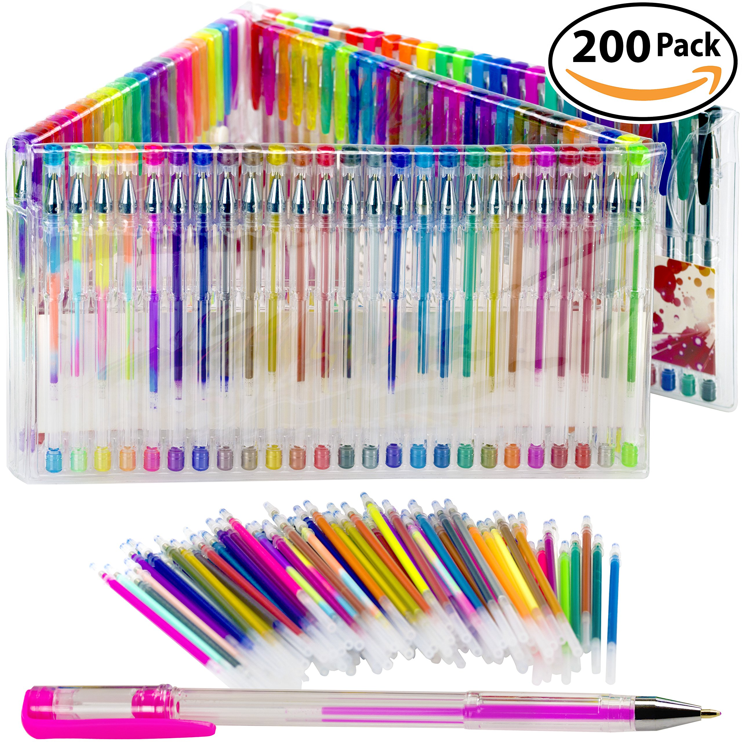 Gel Pen Variety Pack for Adult Coloring Books. Durable, Non-Toxic Set of 100 Glitter, Metallic, Classic, Neon, Swirl and Pastel Colored Pens and Refills. Great Christmas or Birthday Gift