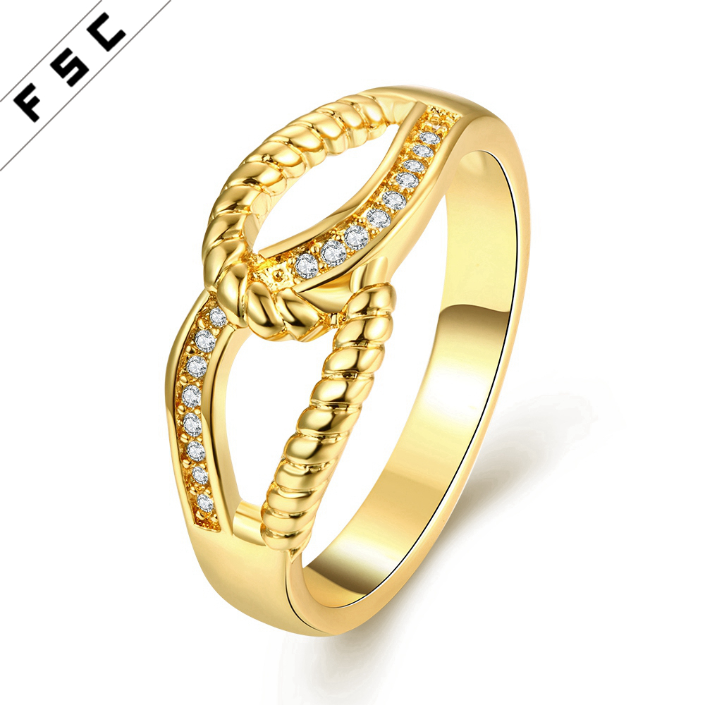 Best valentine gift newest classic gold plated with cz diamond copper ring for women