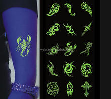 Wholesale body temporary tattoo stickers glow in the dark tattoos for party accessory